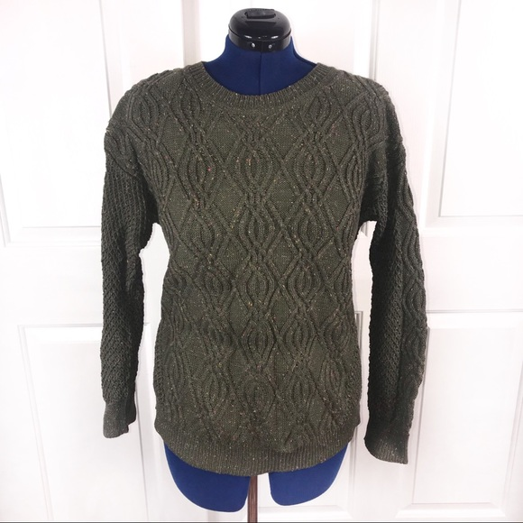 Time & Tru XL(1618)green marl cable knit sweater